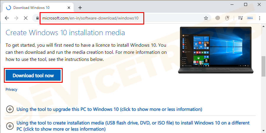 Visit the Microsoft page and search for the Media creation tool page to download the system. Click on the download tool button.