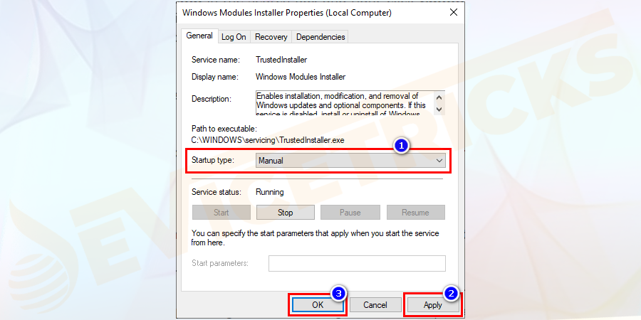 Windows Modules Installer Properties window will open. Now set Startup type as Manual, then click Apply and OK to confirm the changes.