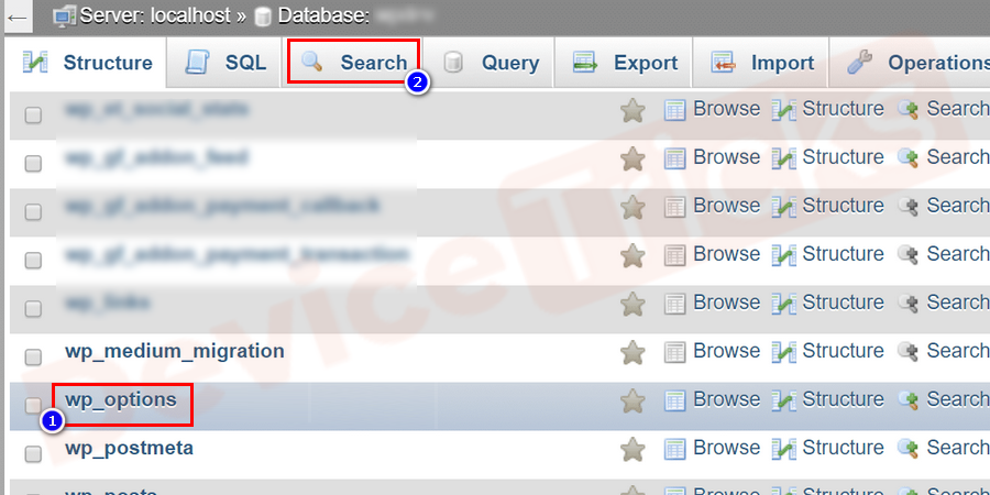 Click on the wp_options table and click on the Search tab.