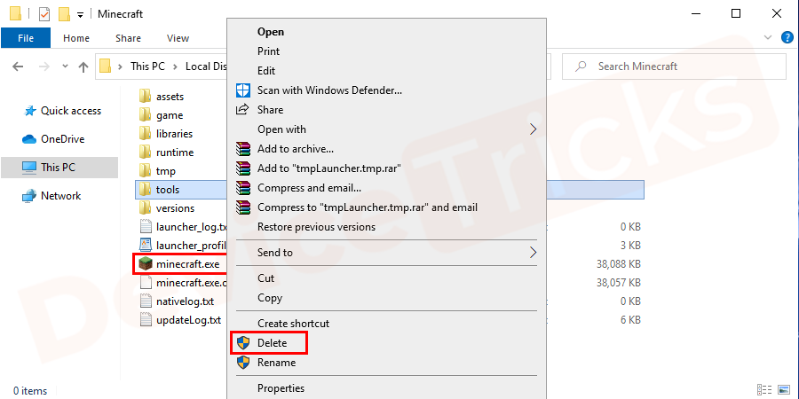 Right-click on minecraft.exe and select delete from the drop-down menu. Click on the yes button on the pop-up window to confirm the operation.