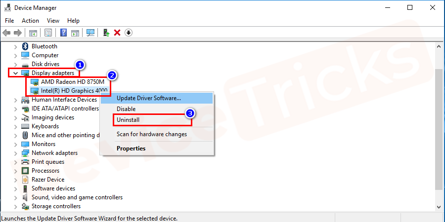 After selecting the card, right-click on it, select 'Uninstall device' option from the drop-down menu.