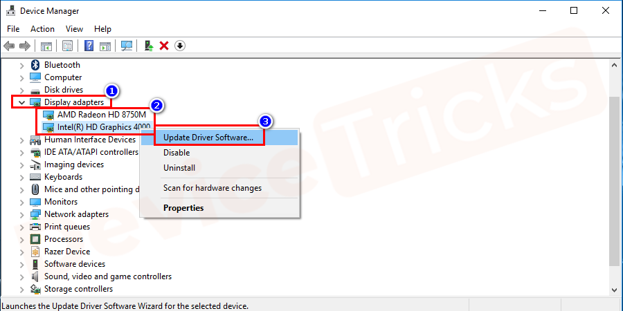 After that, select the relevant driver and then right-click on the 'Display Adapters'. And click on 'Update driver'.