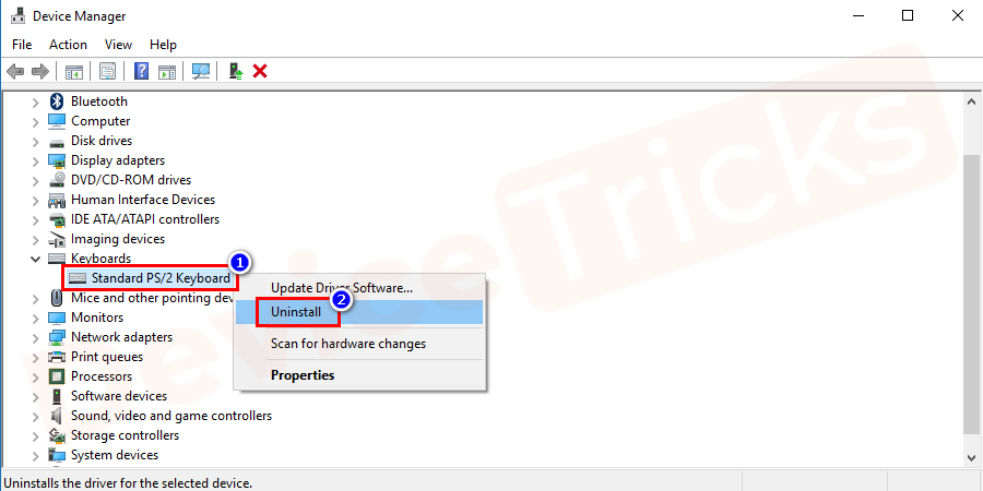 You will find driver under the keyboard, right-clickon it and from the list of options select uninstall.