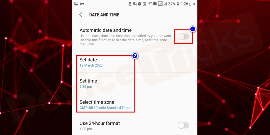 However, if the issue persists, then disable 'Automatic date and time' feature and adjust the date and time manually.