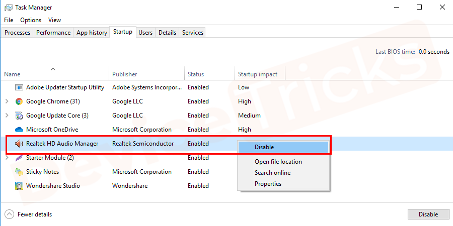 Select the Realtek HD Audio Manager and Disable the tool