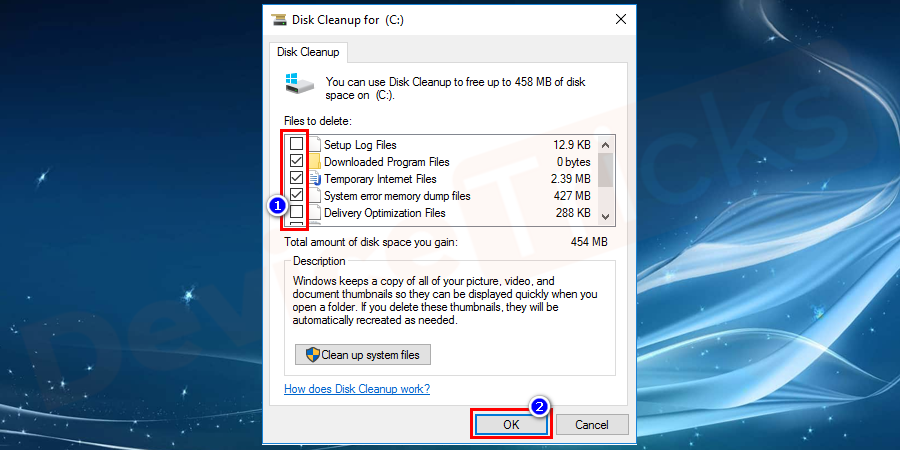 The disk cleanup dialogue box will open with series of checkboxes. You can select which to clean and which do not.