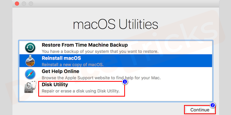 Disk Utility option will be visible, click on Continue.