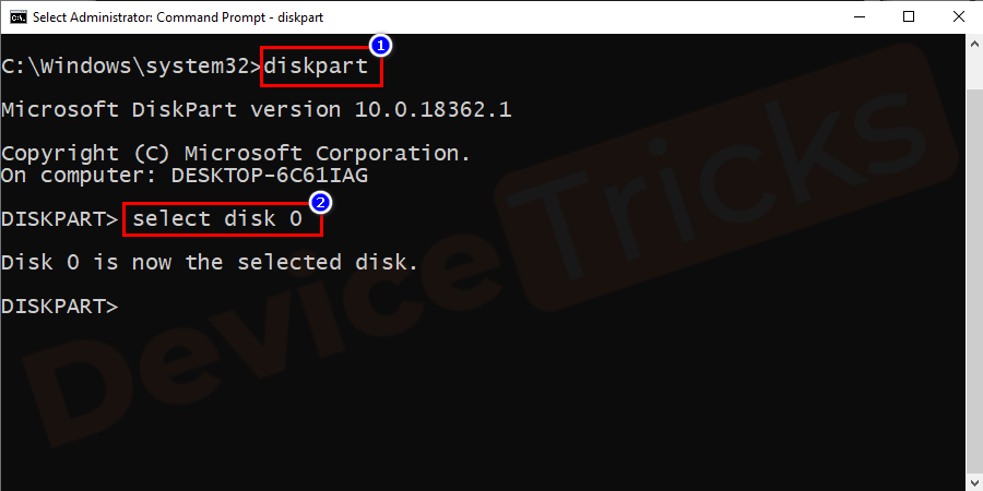 Now you can perform changes in the disk partition and to select the disk, enter 'select disk O', and press 'Enter' key.