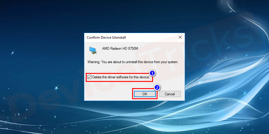 Again, a new window will open which will ask you for the confirmation of the action, click on 'Uninstall' button but before that make sure to click on the checkbox 'Delete the driver software for this device'.