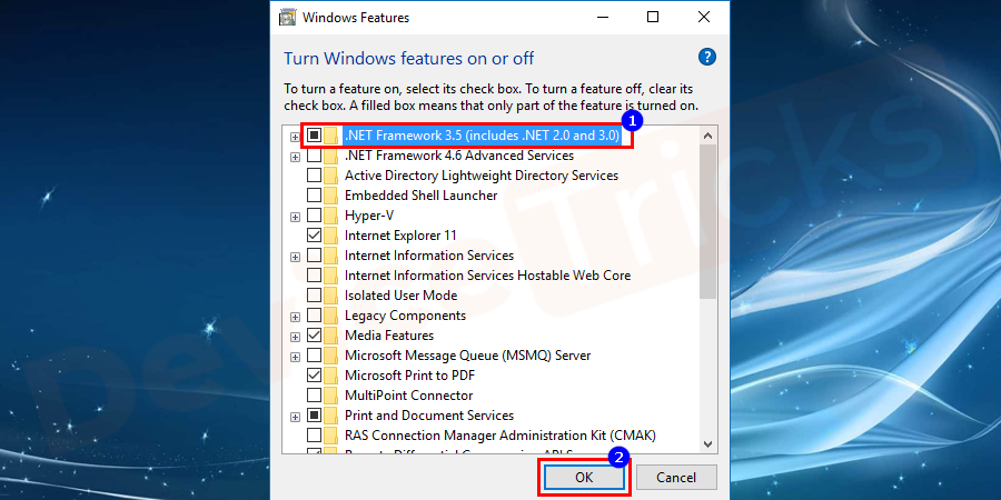 Finally, click on the .NET Framework 3.5(include .NET 2.0 and 3.0) feature and click on OK to save the changes.
