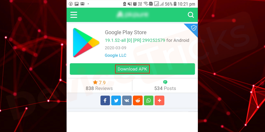 After finding the .apk setup file, select the latest version and then tap on the 'Download' button.
