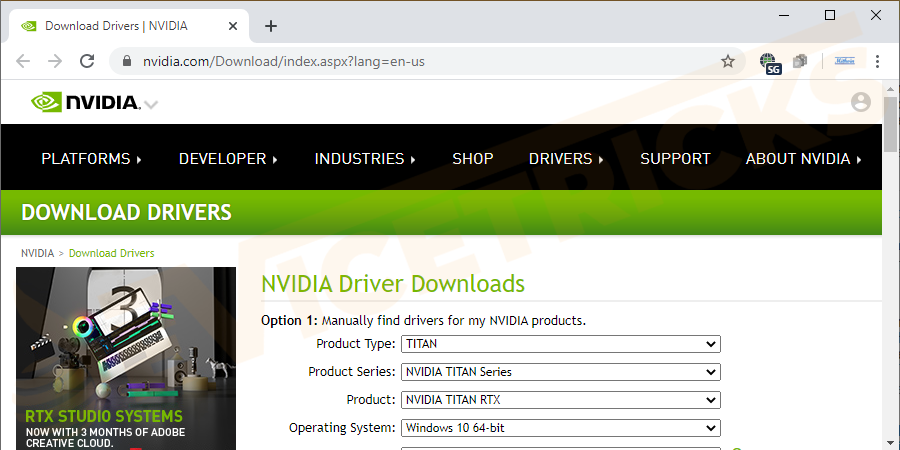 Open browser, search for NVIDIA, and download it.