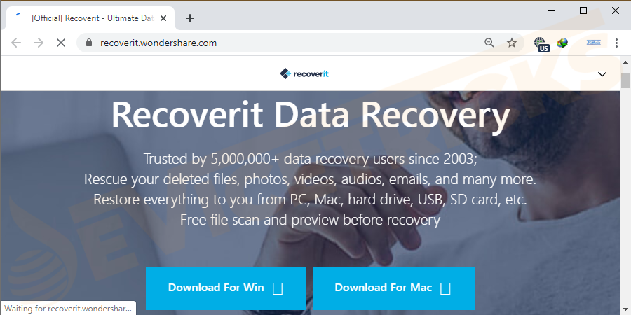Download Wondershare RecoverIt data recovery software from Google search and install it on your computer.