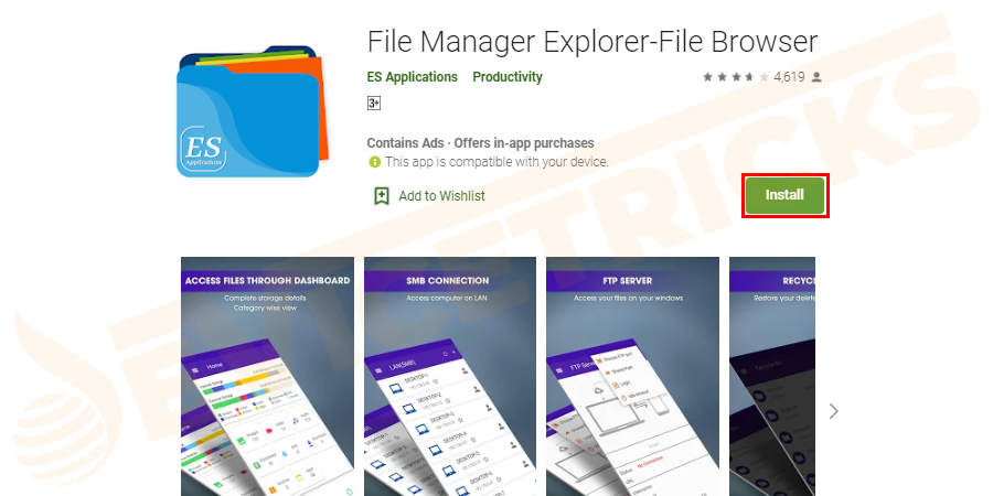 First of all, download and install the ES File Explorer from the Google Play Store.