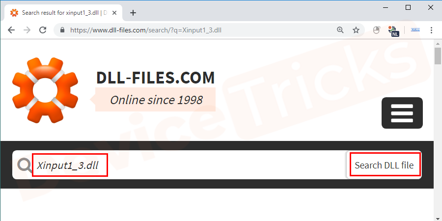 """Search for Xinput1_3 in the search box and click on the """"Search for Dll file"""" button."""