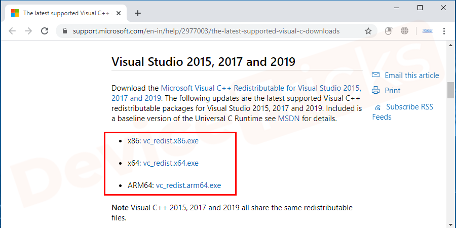 You have to download the latest C++ redistributable package.