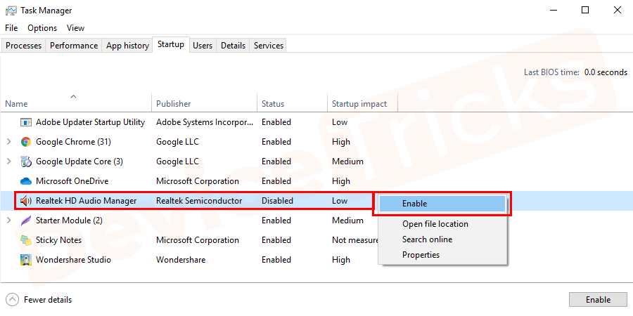 start enabling all the Realtek startup items and Realtek Audio devices which were previously disabled