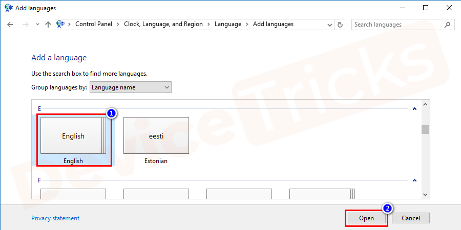 Now scroll down and choose for your preferred language. And probably English is the most used language on the keyboard. So, click on it and then hit the Open button.