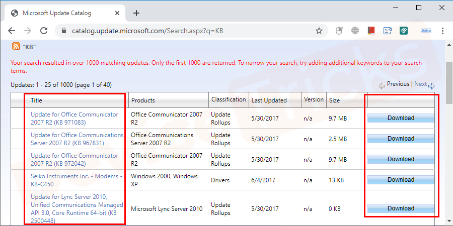 Find a suitable update for your operating system type (x86-based or x64-based) and click on the Download button next to it.
