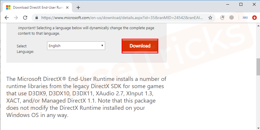 Go to Microsoft's Direct X page and click on the Download button.