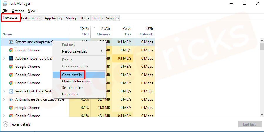 "Navigate to the ""Processes tab"" and locate the high usage exe.service"