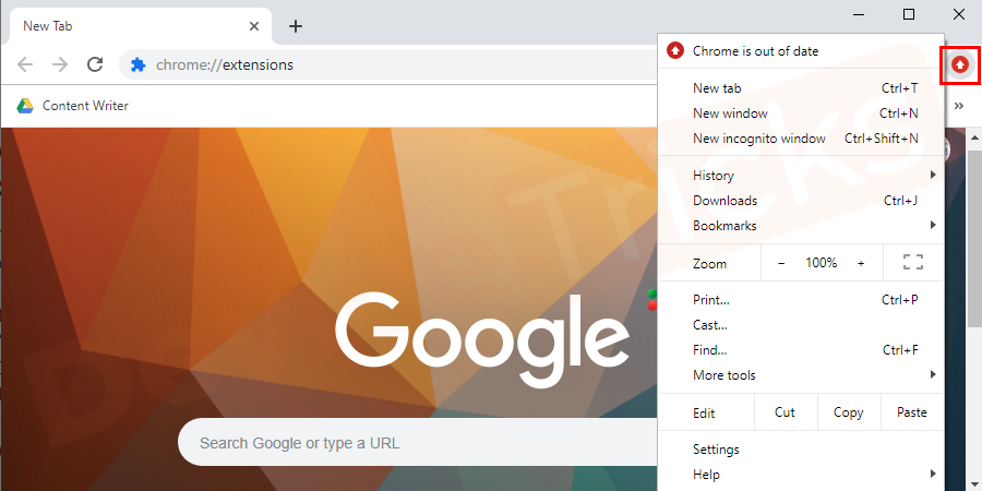 Open your Google Chrome browser and select main menu button in Chrome.