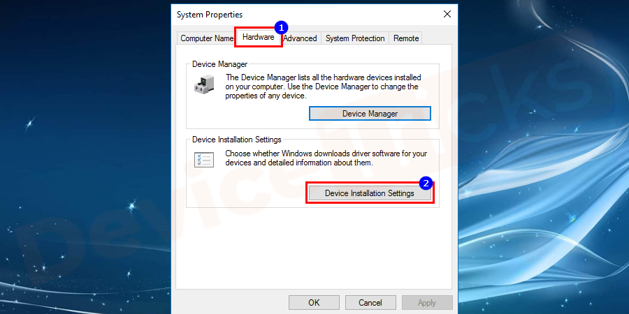 Open the Hardware tab and click on Device Installation Settings.
