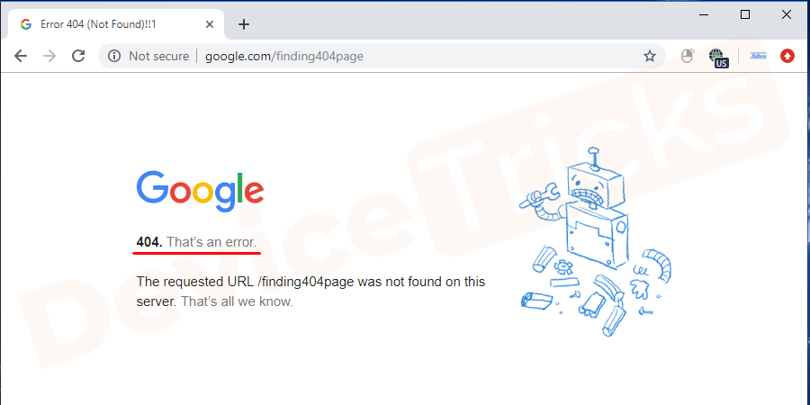 "How the error ""404 Page Not Found"" appear?"
