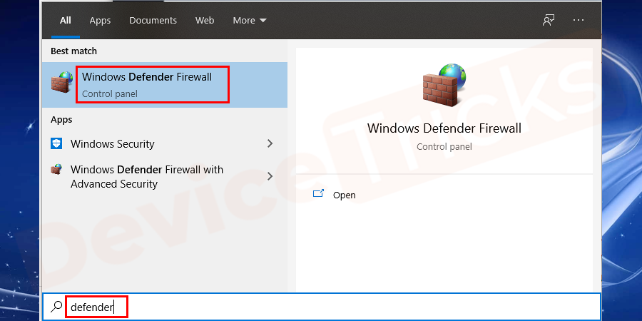 In Start Window search for Firewall and open Windows Defender Firewall.