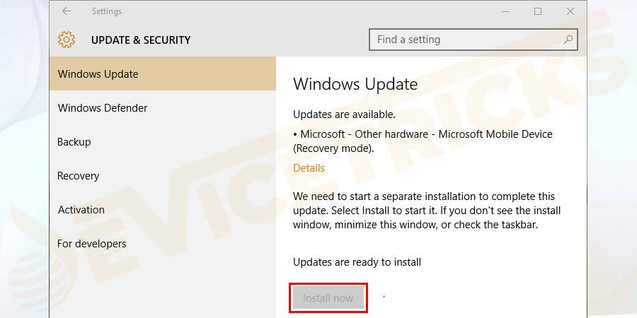 Click on the Install Now button to download the Windows update available. Or if your system is already updated then you will get the updated status.
