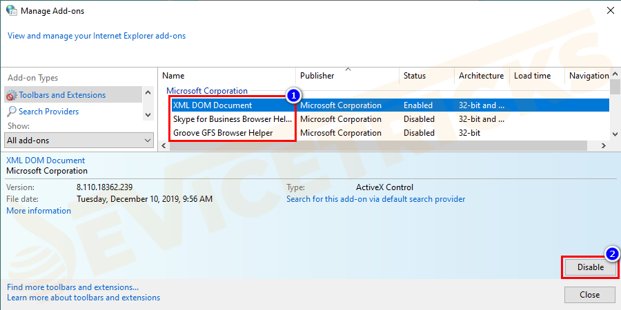 You will be seeing the list of add-ons on Internet Explorer. Click each one and select Disable.