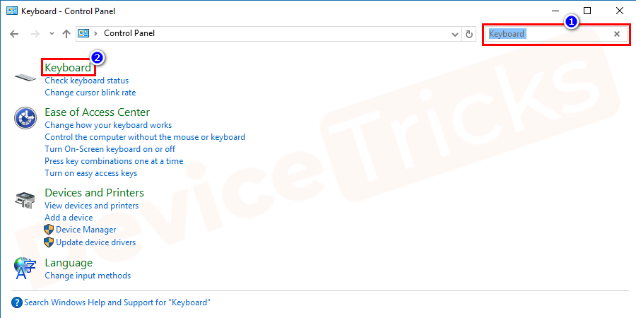 Now search for Keyboard in the top-right corner search bar and then click on the Keyboard from the search result.