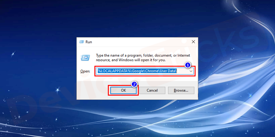 "Open the Run Program and type the following ""%LOCALAPPDATA%\Google\Chrome\User Data\"" in the search bar and hit enter to run the program."