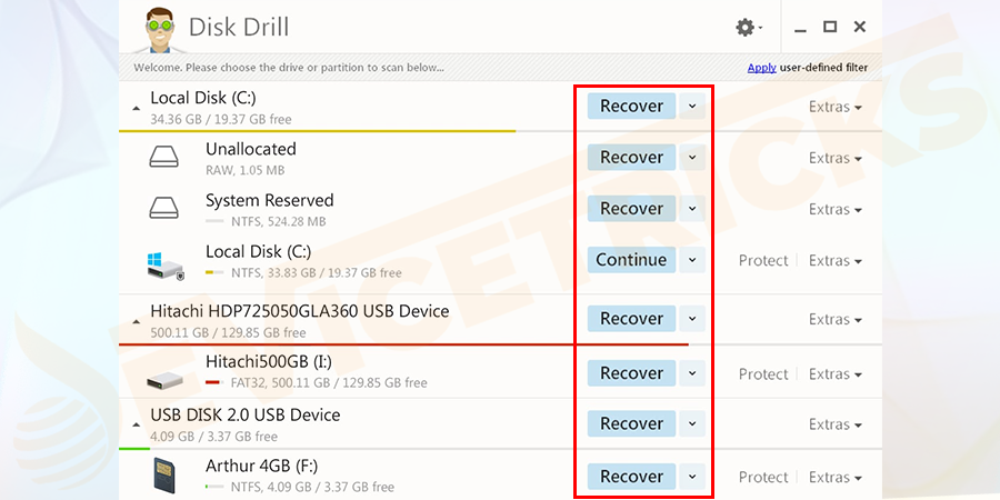Launch disk drill and select the drive you from which want to recover deleted or lost files.