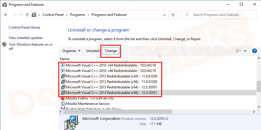 You have to select Microsoft C++ 2015 if you found in the list and then click on the change option.