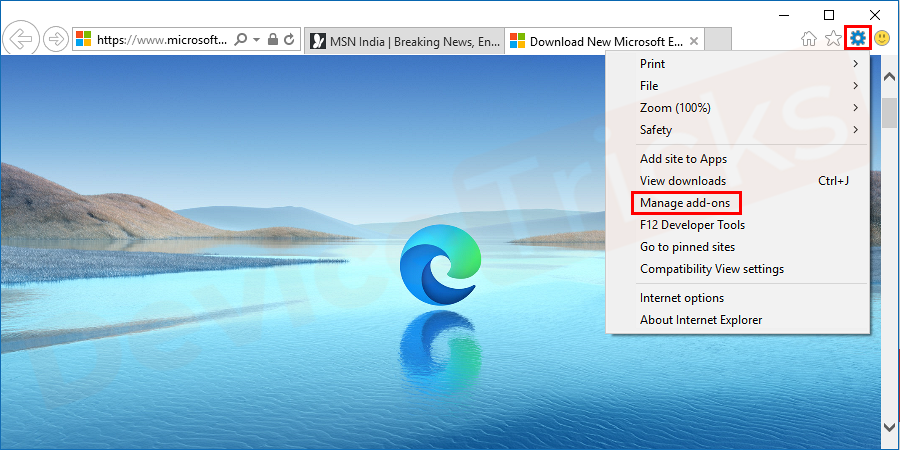 Open internet explorer and click on gear icon present on upper – right corner or tools on the window. From the expanded list, select Manage Add-ons.