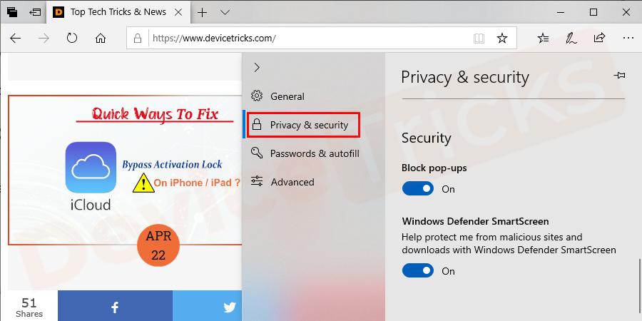 """Under """"Privacy and services"""", select """"Offer to save passwords"""" and set that option to Off to prevent the browser from saving passwords."""