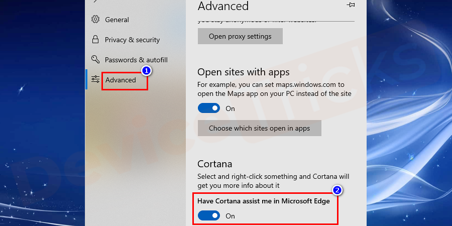 Here, in this section, you will find several options, move to 'Privacy and services' and turn ON the slider 'Have Cortana assist me in Microsoft Edge'.