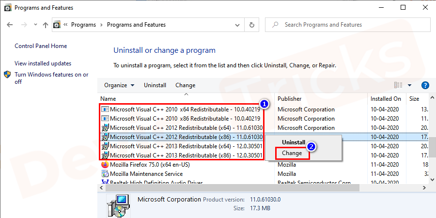 "Look out for Microsoft Visual C++ Redistributable from the drop-down list. Right-click on it to select the ""change"" option."
