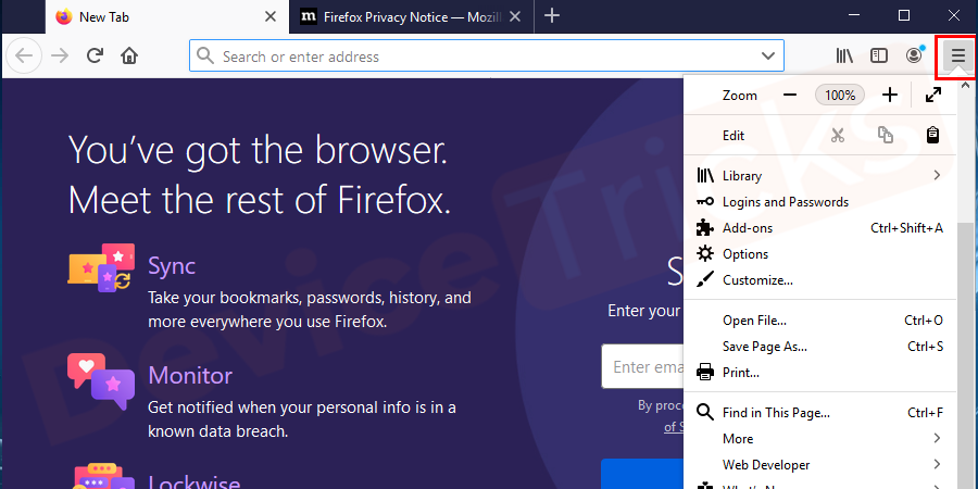 Open Mozilla Firefox and click on the menu button as shown in the figure.