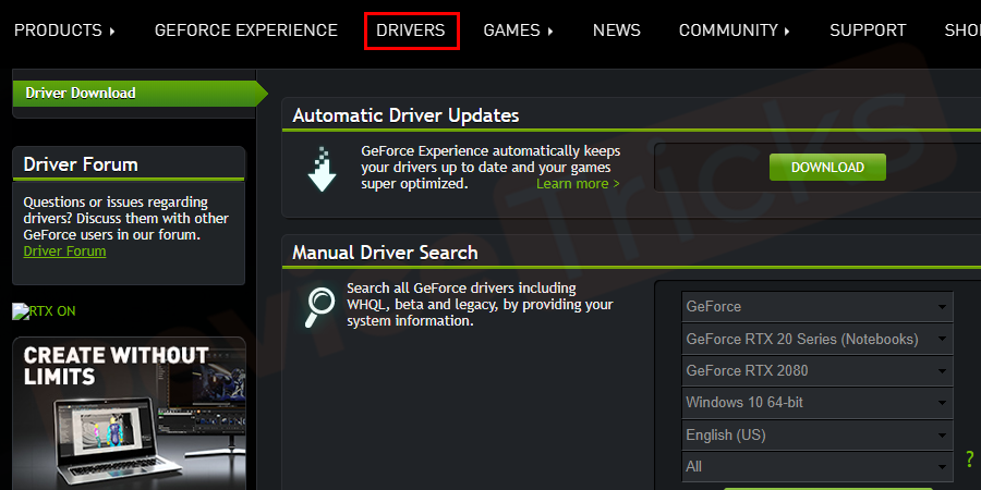 In the home page, you will find several tabs at the top of the page, click on Drivers.