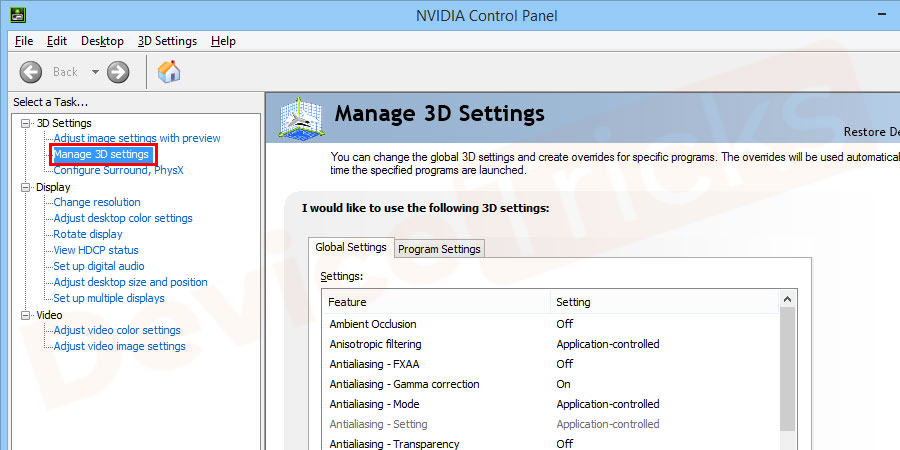 Once you have opened the Nvidia Control Panel, go to the 3D settings menu in the left side navigation.