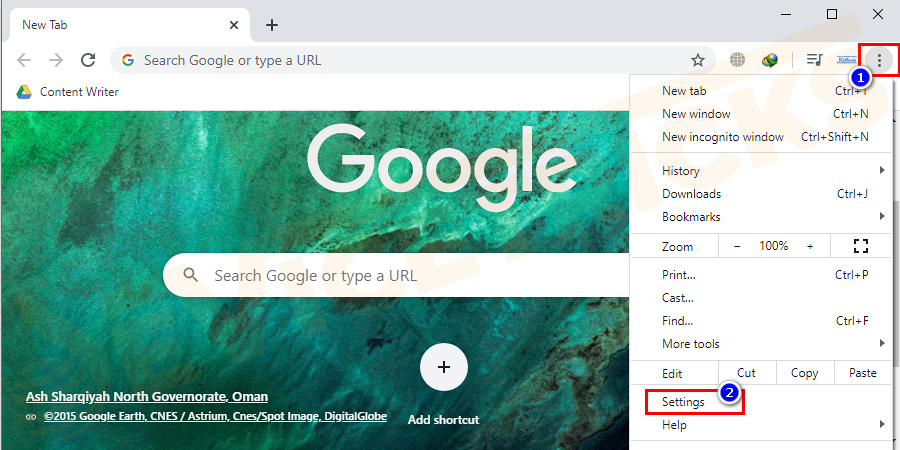 Open Google Chrome and open Settings from the right side of the screen.