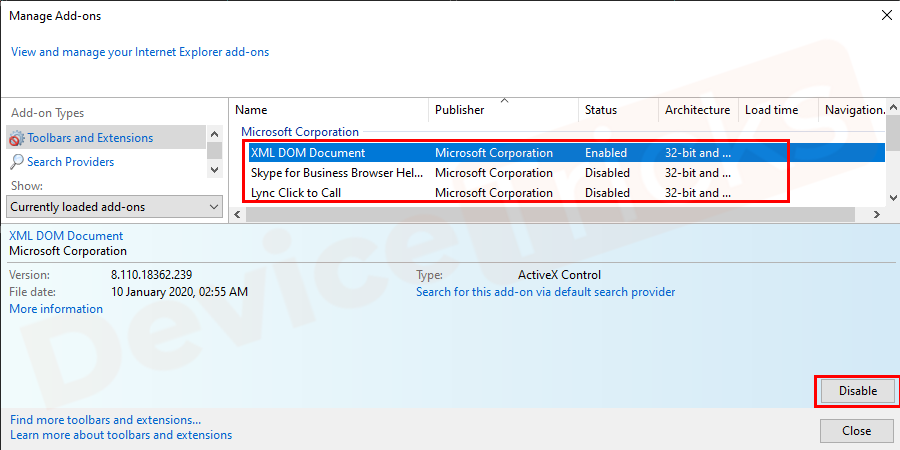 You will get the list for all the add-ons of your Internet Explorer. Select the first add-on and click Disable.