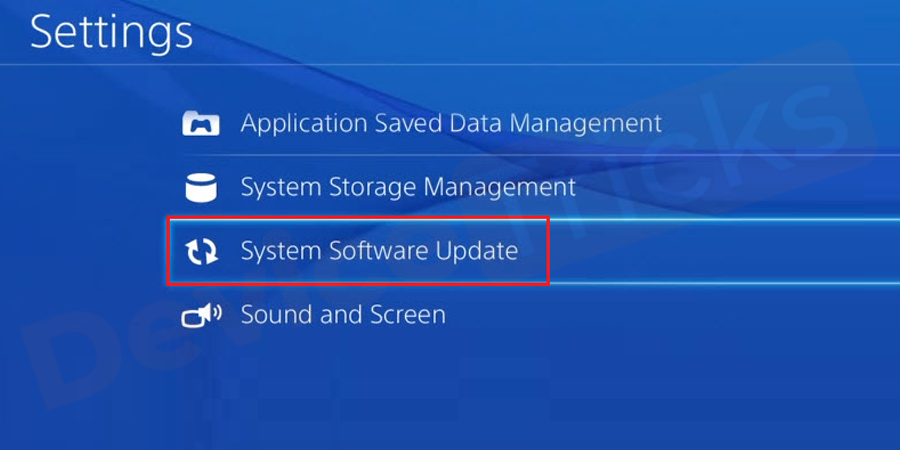 Under the section of Settings, you will get several options; choose 'System Software Update'.