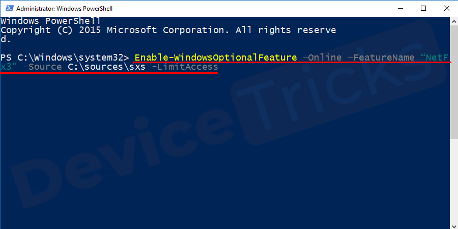 "In the Powershell window type the following command ""Enable-WindowsOptionalFeature –Online –FeatureName ""NetFx3"" –Source <DRIVE>:\sources\sxs -LimitAccess"" and press Enter. (Remember to replace the <DRIVE> with the drive letter where you want to install)"
