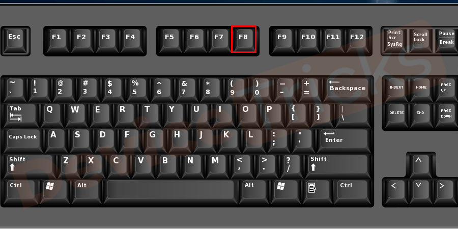 Shut down your PC. Press the power button and immediately press the relevant key to get access to the BIOS settings. Generally, it is an F8 or F12 key.
