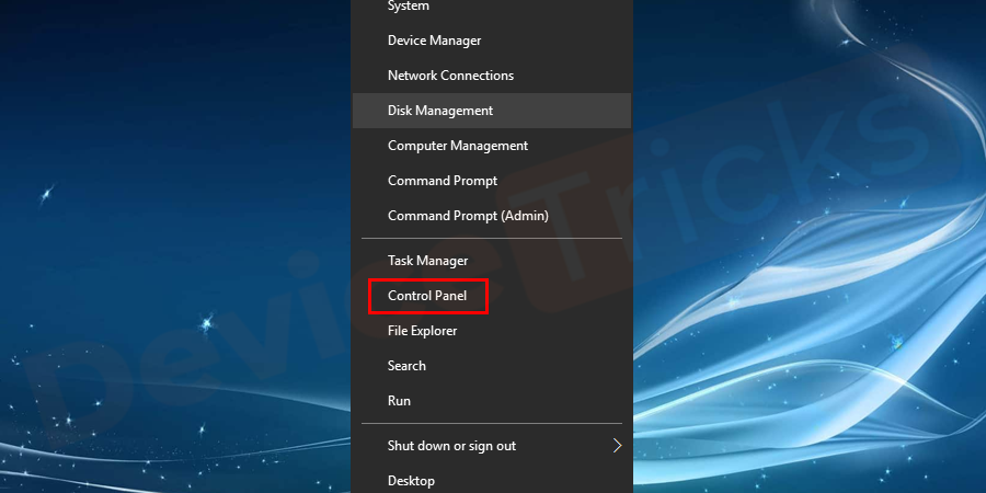Open Control Panel from the Start menu on the desktop screen.