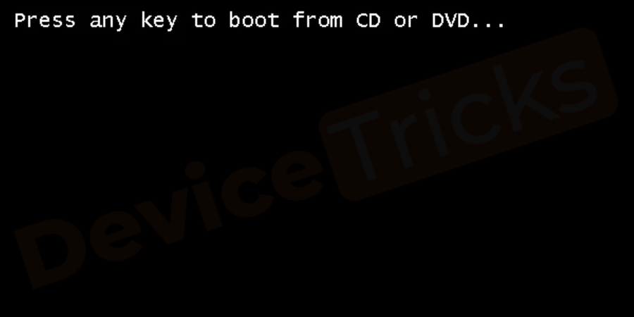 Press any key to boot from CD or DVD.