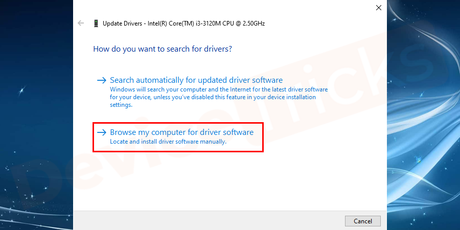 "Now select ""Browse my computer for driver software."""